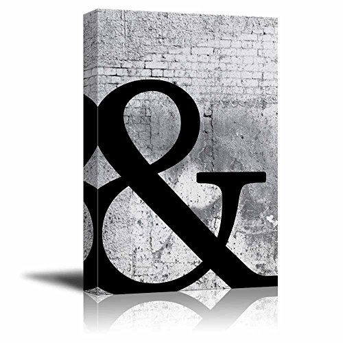 wall26 - Canvas Wall Art - The Letter & (AND Symbol) on Shabby Wall - Giclee Print Gallery Wrap Modern Home Decor Ready to Hang - 16