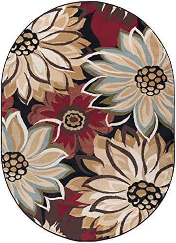 Odessa Transitional Floral Black Oval Area Rug, 5' x 7' - Stores Odessa