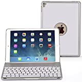 Ipad Pro 9.7 Keyboard Case, NOVT Aluminum Alloy Ultra Thin Smart Bluetooth Wireless Keyboard 7 Color Led Backlit with Protective Case Cover Stand Auto Sleep/Wake for Apple iPad Pro 9.7 (Silver)
