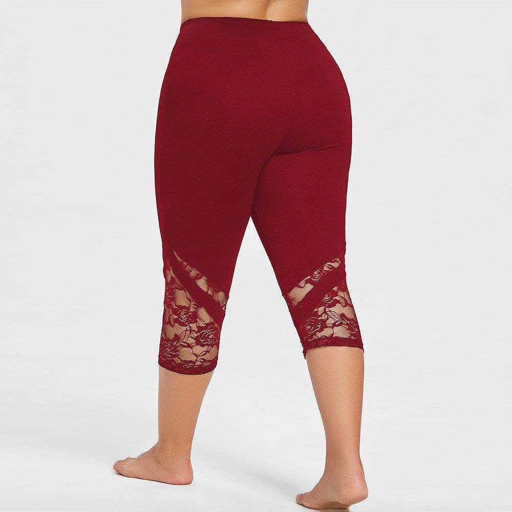 Dressin Women' Plus Size Yoga Leggings, Lace Skinny Sport Pants Exercise Trousers Solid Color Sport Pants for Women Red by Dressin (Image #4)