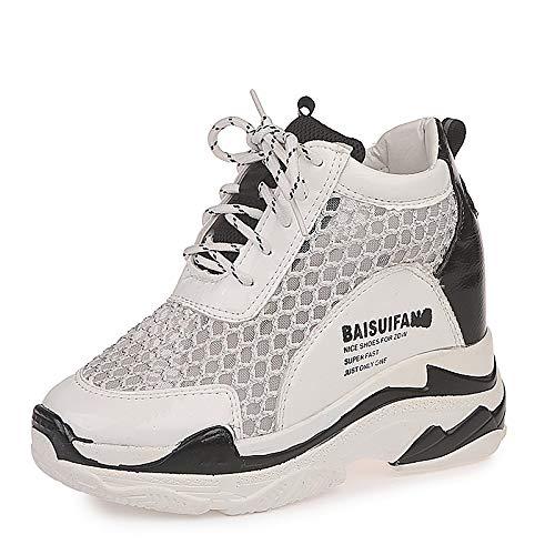 ZHZNVX Zapatos de Mujer de Malla/PU (Poliuretano) Zapatillas de Deporte de Primavera y Verano Zapatos para Caminar Zapatos de cuña con Punta Redonda Blanco/Negro White