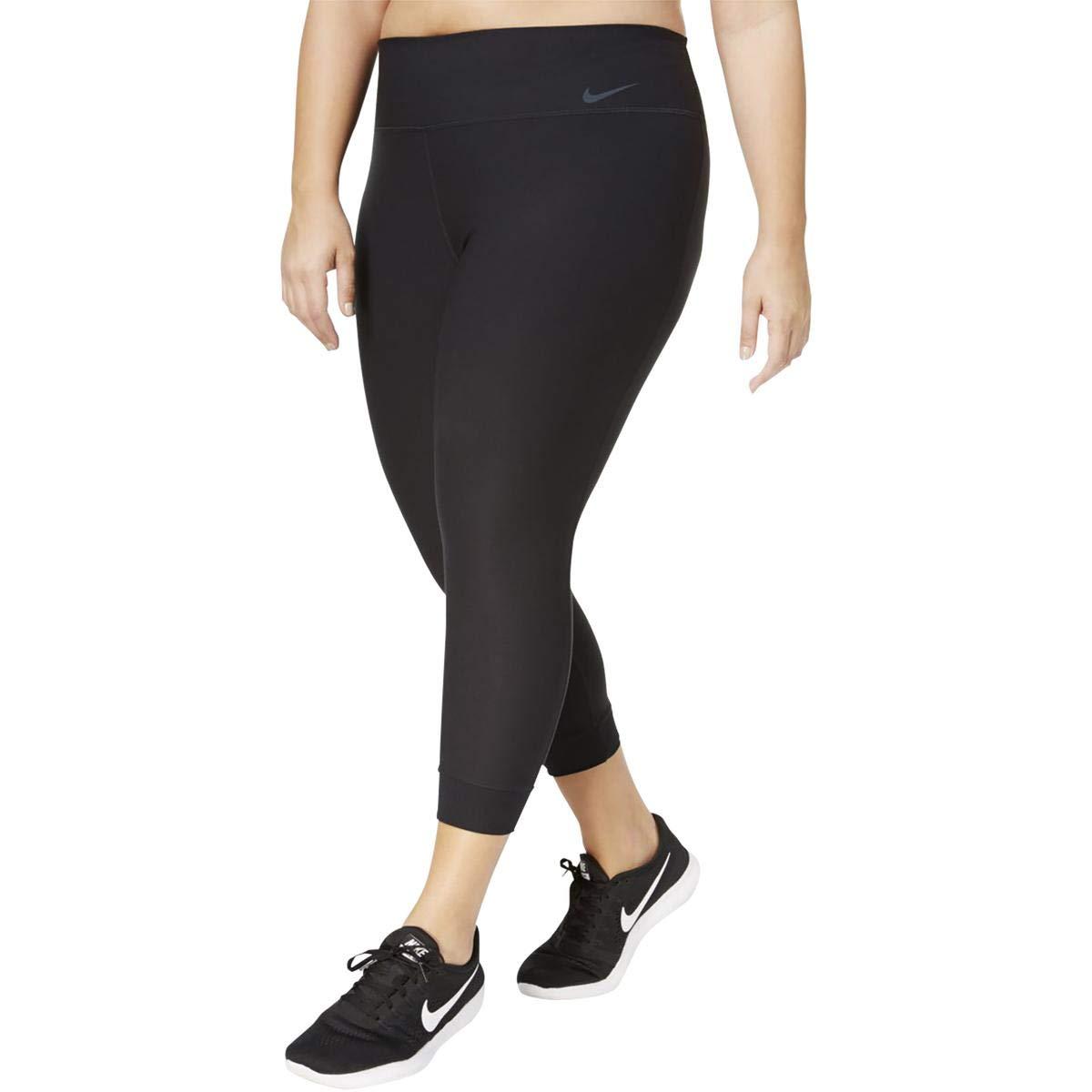 NIKE Womens Plus Training Cropped Athletic Leggings Black 1X