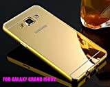 BRAND FUSON(TM) Luxury Metal Bumper + Acrylic Mirror Back Cover Case For SAMSUNG GALAXY GRAND DUOS i9082 GOLD PLATED