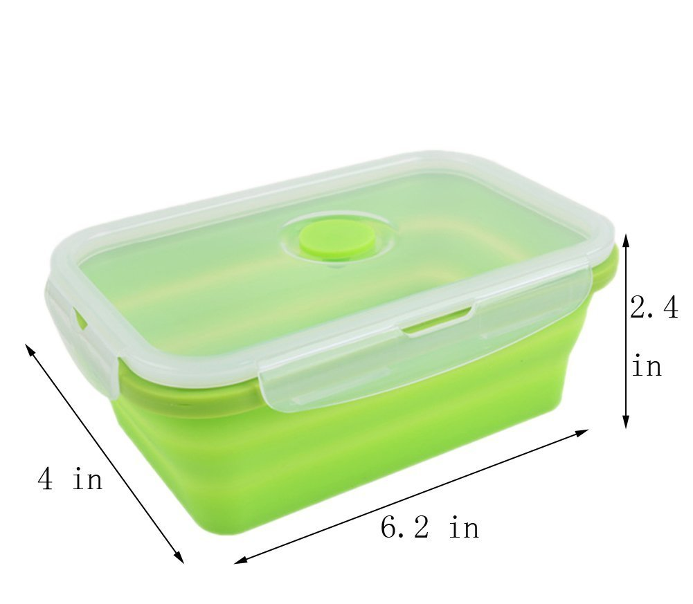 lunch box collapsible food storage containers Silicone Foldable Lunchbox Portable compressible - 1pcs Green
