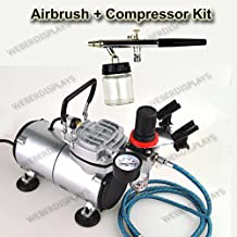 Pro One Double-Action Airbrush With 22 cc Siphon Glass Jar & 1/6 HP Compressor Kit, Dual-Action Air Brush Set, Regulator With Pressure Gauge, Braided Hose, and Holder For Art Tattoo Nail