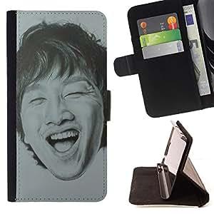 /Skull Market/ - MAN LAUGHING TEETH CHINESE PORTRAIT For HTC DESIRE 816 - Caja de la carpeta del tir???¡¯???€????€?????????