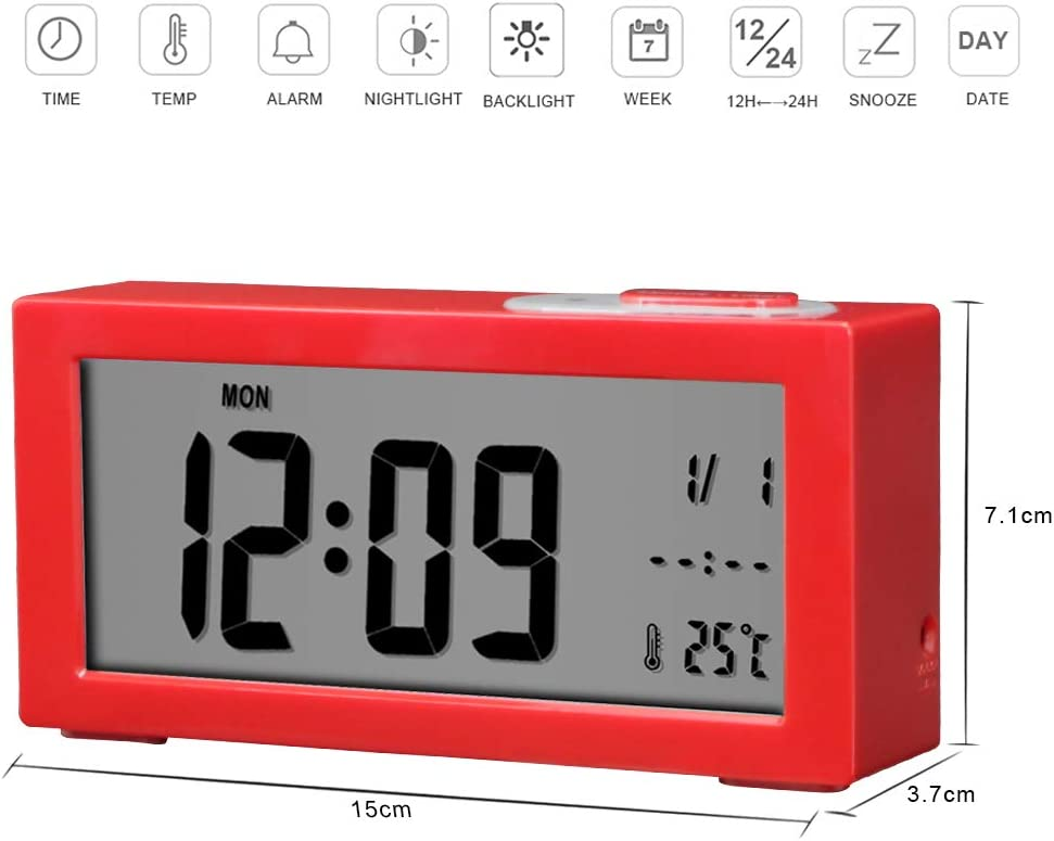 Jcobay Alarm Clocks Bedside Non Ticking Battery Operated Digital Clock Large Display Time Temperature Adjustable Backlight with Snooze Light Function for Home