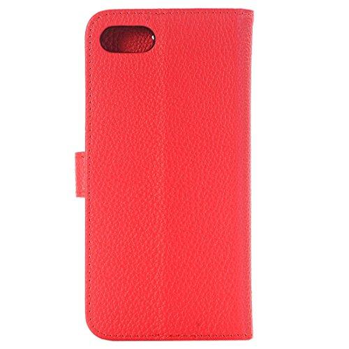 Protege tu iPhone, For iPhone 7 Textil Lichee horizontal Flip caja de cuero con titular y ranuras para tarjetas y cartera, pequeña cantidad recomendada antes de lanzamiento de iPhone 7 Para el teléfon Rojo