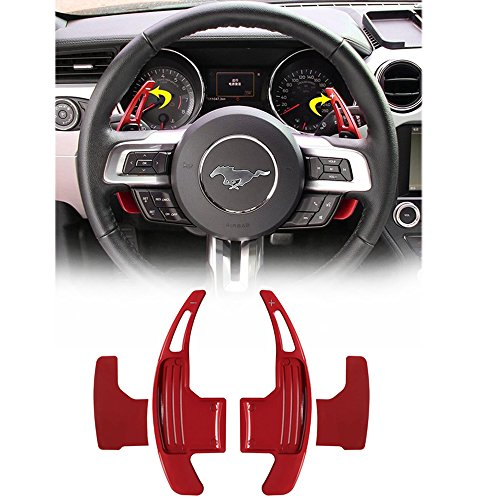 (Opall 2Pcs Red Aluminum Steering Wheel Dull Polish Shift Paddle Shifter Extension for NEW Ford Mustang 2015 2016 2017 2018 ...)