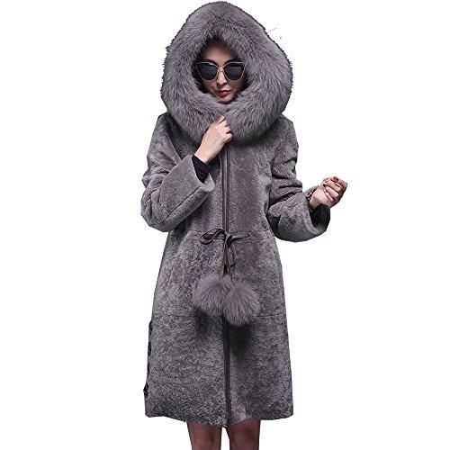 Jiashibao Women Long Shearling Warm Customizable Thicken Long Coat Sheepskin With Fox Fur Collar Hoodie Outwear (3XL, Gray)