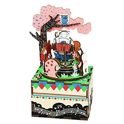Rolife madera manivela Caja de música Machinarium – DIY madera Craft kit-3d puzzle-