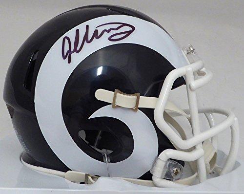 Todd Gurley Autographed Los Angeles Rams White & Blue Speed Mini Helmet Beckett BAS
