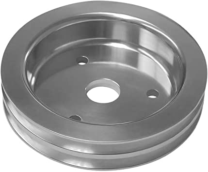 SBC Chevy 2V 2 Groove Billet Aluminum Crank Pulley Long Water Pump 305 350 400