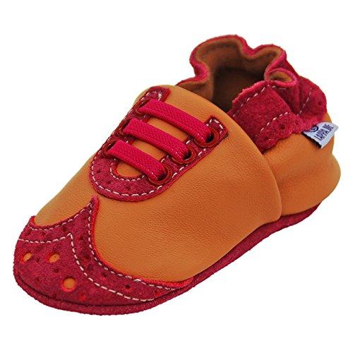 Verschiedene Modelle Lederpuschen Hausschuhe Krabbelschuhe Lederschuhe Lauflernschuhe mit Wildledersohle (30-31, Art. 146 Mokassis orange-pink Ledermix)