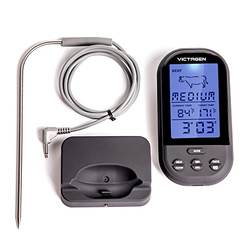 Victagen Remote Wireless Digital Kitchen Food Meat Thermometer Instant Read Super Fast Read Thermometer with Large LCD and Timer Alarm For BBQ Oven Grill Smoker and Outdoor by victagen