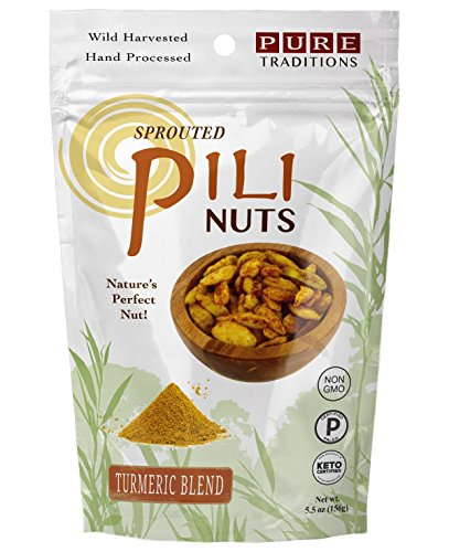 Sprouted Pili Nuts, Turmeric Blend, Certified Paleo & Keto (5.5 oz)