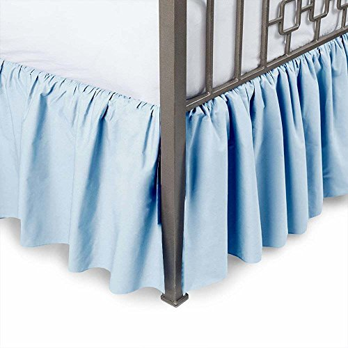 Detachable Cotton Bedskirt (MD Home Decore Light Blue Solid, Queen Size Ruffled Bed Skirt, 14 Inch Drop with Split Corners 100% Cotton-600 Thread Count, Easy Fit Gathered Style, 3 Sided Coverage)