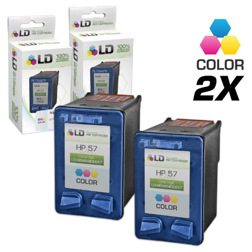 LD Remanufactured Ink Cartridge Replacement for HP 57 C6657AN (Color, 2-Pack)