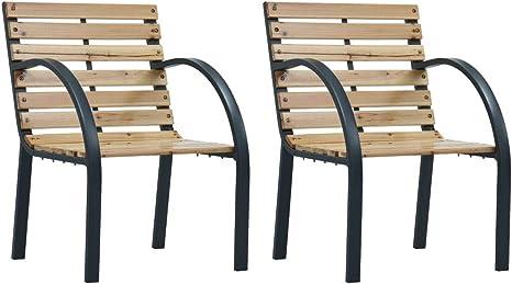 vidaXL 2x Holz Gartenstuhl Gartensessel Stuhl Sessel Balkonstuhl Gartenmöbel