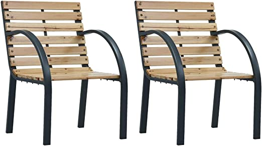 vidaXL 2X Sillas de Jardín Asientos de Exterior Patio Terraza Sillon de Porche Muebles Sentarse Afuera Aire Libre Madera: Amazon.es: Hogar