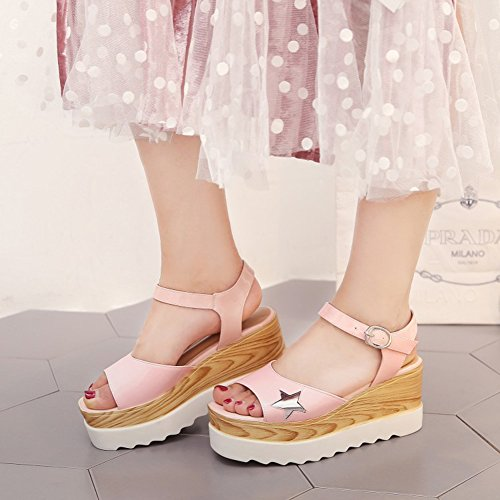 Easemax Womens Sweet Star Open Toe Ankle Buckle Strap Platform Mid Wedge Heel Sandals Pink RhHPVsHi
