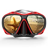 COPOZZ Scuba Mask, Snorkeling Dive Glasses, Free Diving Tempered Glass Goggles - Optional Dry Snorkel with Comfortable Mouthpiece (4260-Red)