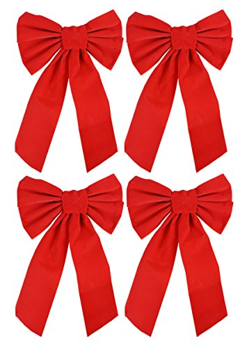 Bow 9-inch X 16-inch 4 Pack of Holiday Bows (Red Bows)