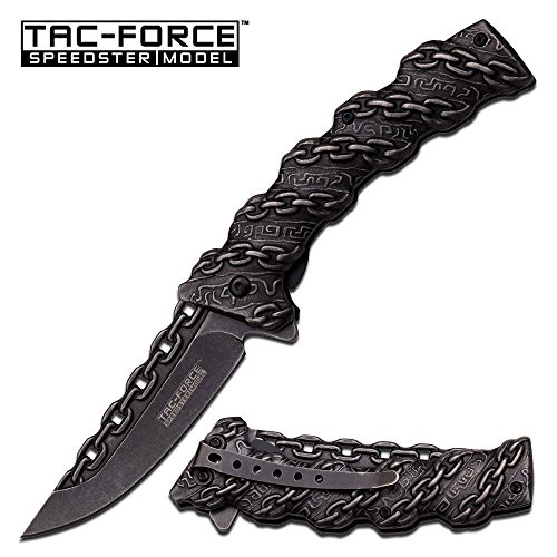 8'' TAC FORCE CHAIN STONE WASH BLADE Spring Assisted Tactical Pocket Knife - hunting knives, military surplus - survival and camping gear by TAC Force