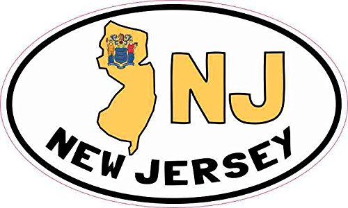- 5inx3in Oval NJ New Jersey Sticker Vinyl Car Bumper Decal Luggage Stickers