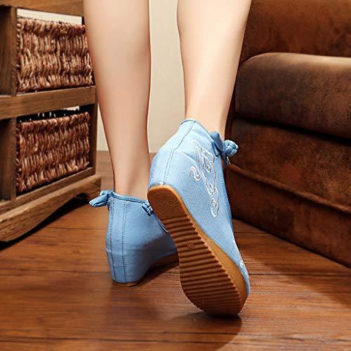 Blu Alto Casual Blu colore Da Vento Nazionale 36 5cm Dimensioni Tacco Xhx Con Donna Eleganti Ricamo Ballo Scarpe qvZxg8