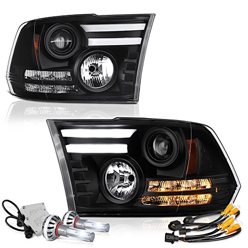 Exclusive Tribal Edition Vipmotoz Oled Tube Black Projector Headlight Assembly For 2009 2018 Dodge Ram 1500 2500 3500 Pickup Truck Built In Diamond White Csp Led Low Beam Driver Passenger Side