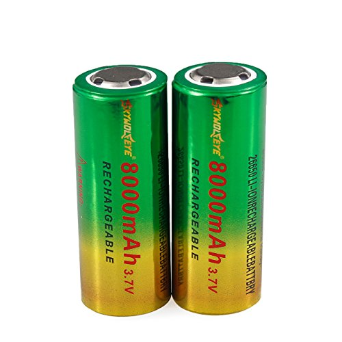 - 2pcs 3.7V 26650 8800mAh Li-ion Rechargeable Battery For LED Flashlight Torch