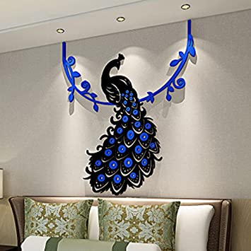 YCQUE Funny Interesting Peacock Pattern DIY 3D Acrylic Crystal Wall Stickers Living Room Bedroom TV Background Home Decoration