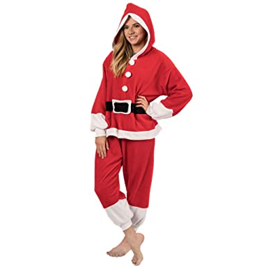 f3a7235b97d4 Emolly Fashion Adult Santa Onesie Costume Pajamas for Adults and Teens  (Small)