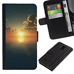 KingStore / Leather Etui en cuir / Samsung Galaxy Note 4 IV / Sunset Beautiful Nature 69