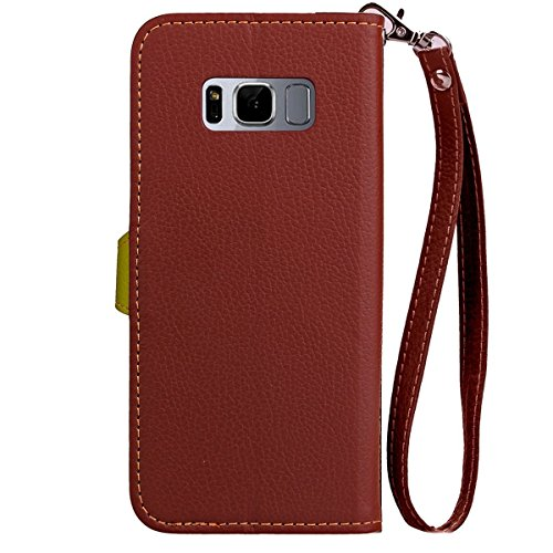 Funda Samsung Galaxy S8,Funda Libro Suave PU Leather Cuero impresión- EMAXELERS Carcasa Con Flip case cover,Funda Galaxy S8 gofrado diseño afortunado del trébol Flip case cover,wallet Case para Galaxy E Brown Case Green Leaf