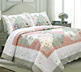 Cozy Line Home Fashions Floral Patchwork Tiffany Green Pink Lilac Country, 100% COTTON Quilt Bedding Set, Reversible Coverlet Bedspread, Scalloped Edge,Gifts for Women(Celia Tiffany, Queen - 3 piece)