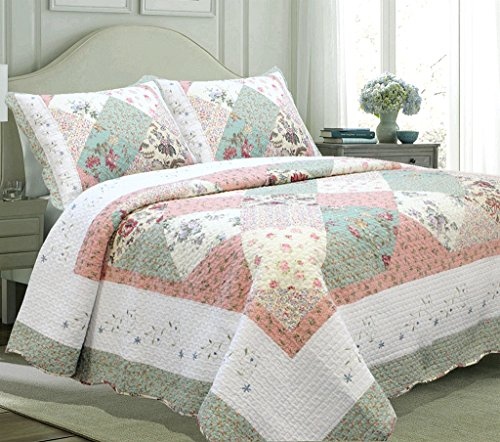 Cozy Line Home Fashions Floral Patchwork Tiffany Green Pink Lilac Country, 100% COTTON Quilt Bedding Set, Reversible Coverlet Bedspread, Scalloped Edge,Gifts for Women(Celia Tiffany, Queen - 3 piece) - Edge Quilt