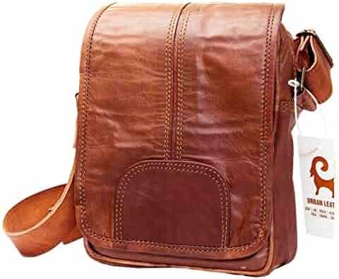 db95e6169c Urban Leather Vertical Messenger Sling Satchel Brown Bag Purse Men Women  Boys Girls Outing Travel Passport