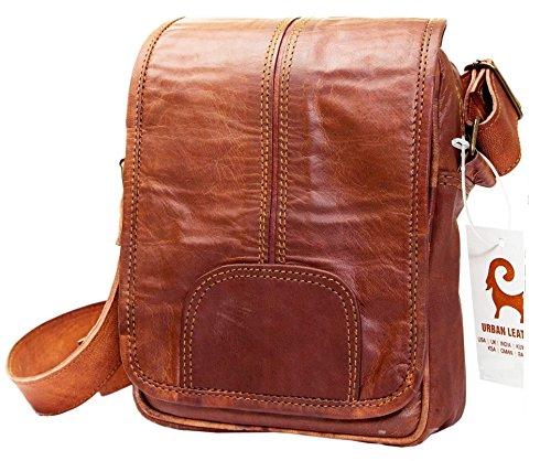 Urban Leather Vertical Messenger Sling Satchel Brown Bag Purse for Men Women Boys Girls Outing Travel Passport Handbag with Natural Textures, Size 9 Inch