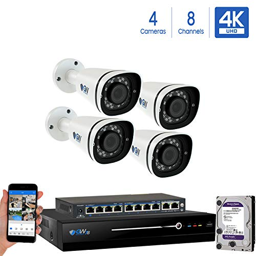 GW 8 Channel 8MP UltraHD 4K 3840×2160 Audio Video Motorized Zoom Home NVR Security System – 4 x Bullet 8 Megapixel 2.8-8mm 3X Optical Zoom Waterproof IP PoE Cameras Built-in Microphone