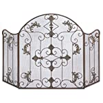 Gifts Decor Rustic Scrollwork Iron Florentine Fireplace Screen by Furniture Creations