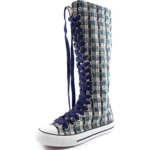Dailyshoes Stivali Alti A Metà Polpaccio Tela Da Donna Casual Sneaker Punk Flat, Stivali Blu Scuro A Quadri Blu Navy, Pizzo Blu Navy