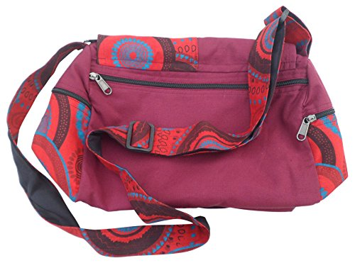 Travel Bag Shopping Trade Burgundy Print Cotton Hobo Boho Shoulder Fair Mix Nepalese fUHBUY