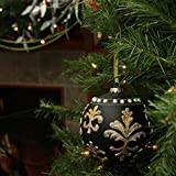 4.5'' Victorian Style Black and Gold Glass Christmas Ball Ornament