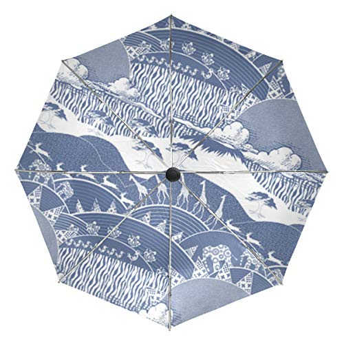 Africa Monaco Blue Culture Inverted Reverse Sun&Rain Car Automatic Umbrella Large Windproof Travel UV Protection Umbrellas by WaKaBlues