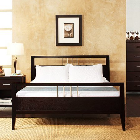 Contemporary Full Size Platform Bed, Solid Wood, Espresso Finish, Headboard, Footboard and Rails Included, Brushed Chrome Accents, Bundle with Our Expert Guide with Tips for Home Arrangement ()