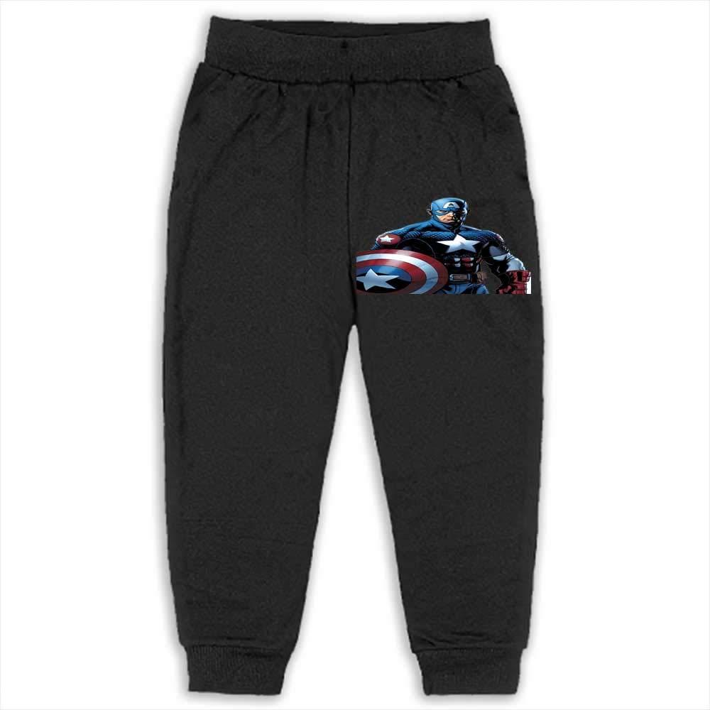 Pants Kids Boys Sweatpants Jogger Sport Trousers Captain America 2T_Black