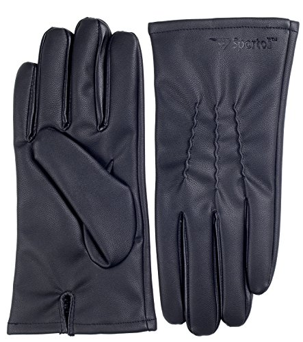 Sportoli Men's PU Leather Warm Winter Gloves with Imitation Fur Inside Lining - Black (Large) (Fancy Dress Boxing Gloves)