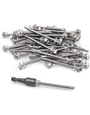 """#12 × 2-1/2"""" Hex Washer Head Self Drilling Screws 410 Stainless Steel Self-Tapping Screws 50pcs"""